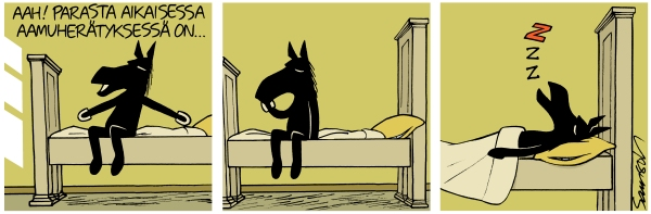 musta hevonen unessa